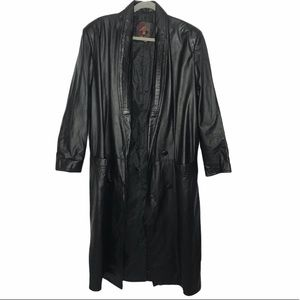G-III Vintage 100% Leather Black Trench Coat Large